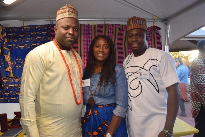 Charles Ogantade with friends at St Paul's African House