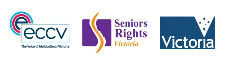Banner with ECCV logo and Seniors Rights Victoria logos