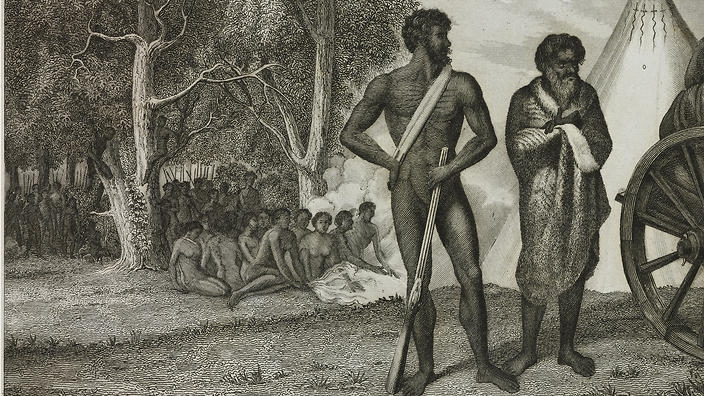 engraving of aboriginal camp