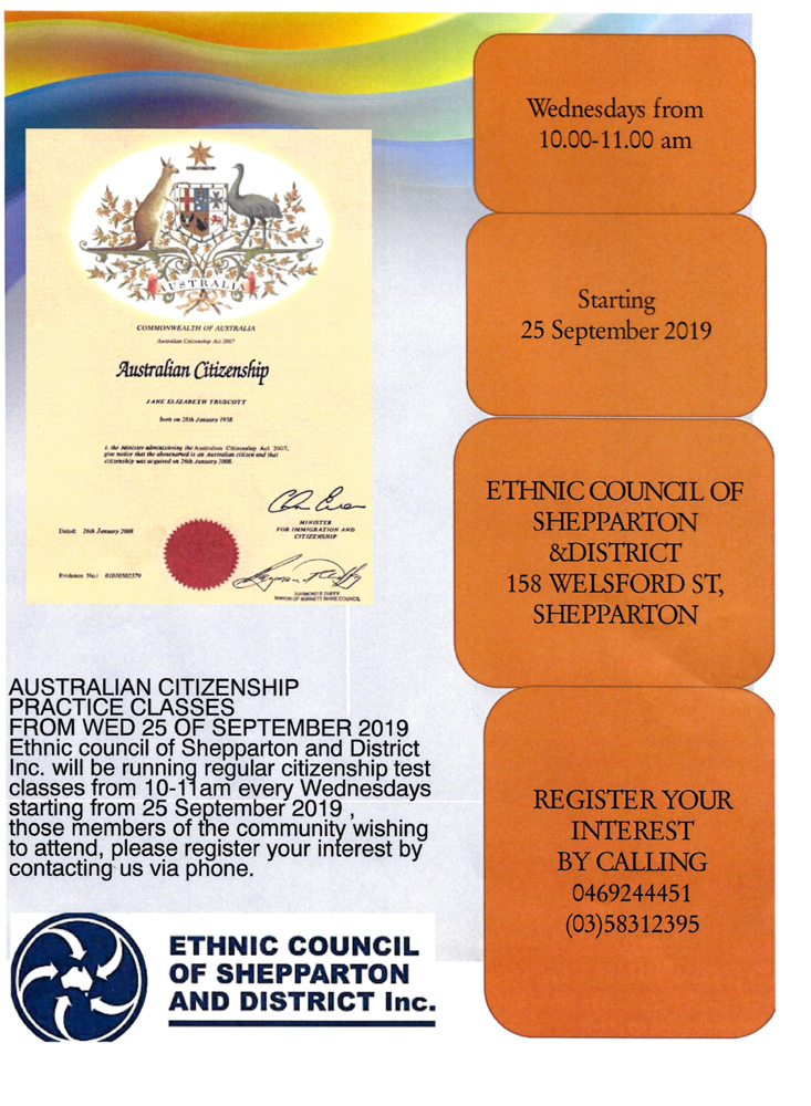 Citizenship Classes Shepparton